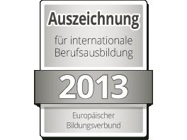 Auszeichnung für internationale Berufsausbildung 2013